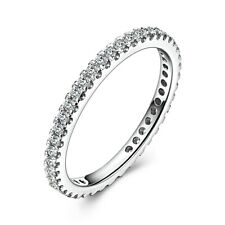 Pave Setting 0.4ct Moissanite Wedding Anniversary Bands Ring Sterling Silver 925
