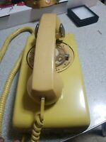 Yellow Wall Mount Rotary Dial Telephone
