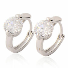 Solitaire 9K White Gold Filled Flawless CZ Womens/Grils Hoop Earrings  E992
