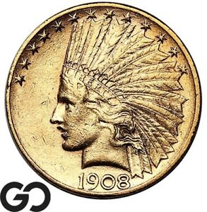 1908-D Gold Eagle, $10 Gold Indian, With Motto ** Free Shipping!