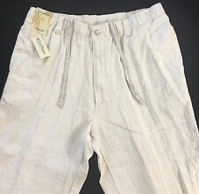 Men's CARIBBEAN Natural 100% LINEN Pants 36x34 36 34 NWT Beach Wear $79.50 NICE!