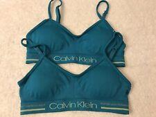2NEW  CALVIN KLEIN logo band Teal lightly padded BRALETTE SPORTS Training bra SM