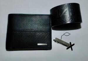 BILLABONG BRAND NEW MENS RFID BLACK LEATHER WALLET, WRIST BAND & TIE PIN