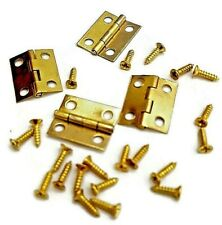 Jewellery Box Lid Hinges x 2 Dolls House Door 65mm Long Brassed With Screws