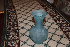 Stunning Blue Glass Vase Scalloped Rim-Raised Berry & Leave Pattern-Imperial