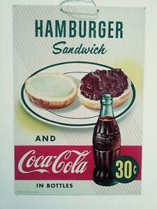 Vintage 1952 Coca Cola Cardboard Hanger Sign 16 x 11