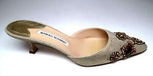 Manolo Blahnik, R/Rock Jeweled, Mettalic L, Kitten Heels Mule , Womens Size 40