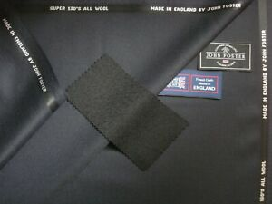 """John Foster SUPER 130's WOOL WORSTED SUITING FABRIC IN """"Very Dk. Navy"""" = 3.5 m."""