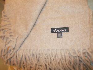 ANDEAN Alpaca Wool Throw Blanket Single Bed Made In Peru Beige Natural New