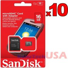 Lot of 10 SanDisk 16GB Class 4 Micro SD Micro SDHC TF T-Flash Memory Card