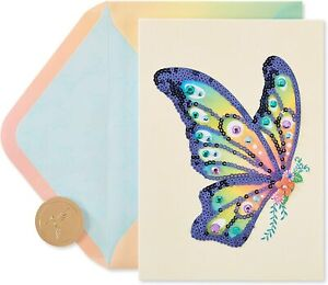 Papyrus Blank Card - Gorgeous Rainbow Sequin & Gem Butterfly on Fabric Card