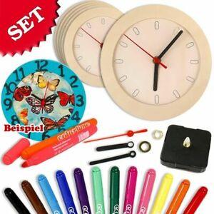Uhren Bastelset 18tlg. für 6 Holzuhren, Malset Wanduhr Holz Uhr selber basteln