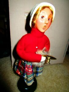"""1998 BYER'S CHOICE CAROLER 10"""" Young Girl Holding Candle Holder Muff"""