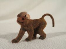 Wagner Kunstlerschutz West Germany Animal Flocked Handwork ~ Monkey Curved Tail