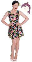 Hell Bunny Maui Mini Dress Hibiscus Tropical Flowers 1950s Summer Wear (4338)