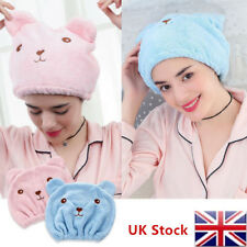 UK Cute Bear Microfiber Hair Dry Quickly Hat Absorbing Turban Wrap Bathing Cap