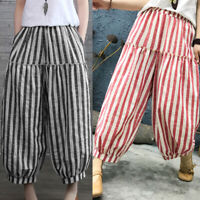 ZANZEA Women Stripe Pants Cropped Capris Plus Size Retro Baggy Wide Leg Trousers