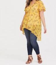 6b81d705ed424 Torrid Yellow Floral Chiffon Babydoll Tunic Top Blouse 2x 18 20  84615
