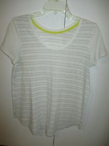 LULULEMON  BEIGE AND GRAY STRIPED SHORT SLEEVE COTTON BLEND TOP SIZE L