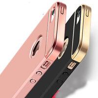 For iPhone SE 5 5s 3-in-1 Rigid Acrylic Metallic Plating Grip Case Cover Bumper