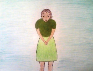 DRAWING ,TITLED; 'SIGH...!', ANIMATED,COLORED PENCIL,SKETCH PAD - FREE SHIP!