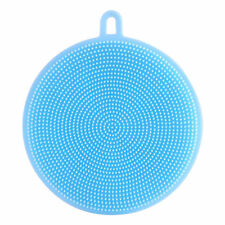Blue Round Silicone Soft Scrubber Wash Dish Clean Brush Antibacterial Household