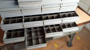 """Real Equipto USA Metal Parts Cabinet 16 Drawers (6 w/ dividers) 17"""" deep"""