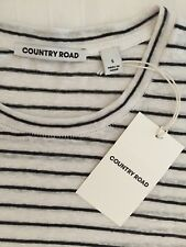 COUNTRY ROAD Luxe Pure Linen Striped L/S Top Chalk & Black S NEW $79.95