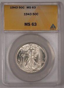 1943 Walking Liberty Silver Half Dollar ANACS MS-63 (Better) (1)