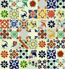 "50  Mexican Talavera Ceramic Tiles 4"" WHITE MIXED DESIGNS"