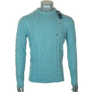 New Men's Hollister Cable Knit Jumper Sweater M L XL Light Blue Crew Neck