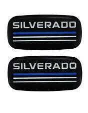 2x New Epoxy Resin Silverado Emblems Pillar Cab Badges Logo For Chevy Blue