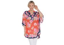 Tolani Collection Mandarin Collar Printed Woven Caftan Tunic,Coral,Size L