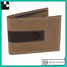 portafogli da uomo in VERA PELLE beige e marrone con porta carte di credito