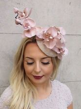 Nude Beige Cream Orchid Flower Fascinator Hat Wedding Hair Clip Races Vtg 2973