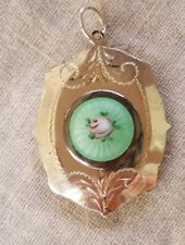 Antique Sterling Silver and Guilloche Locket with Rose