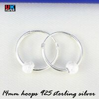 925 STERLING SILVER 14mm HOOP EARRINGS WITH STARDUST BALL BEADS SOLID NOSE RINGS