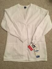 Nwt! Women's Barco Size Small White Snap Up V-Neck Uniform/Jacket/Lab Coat/Smock