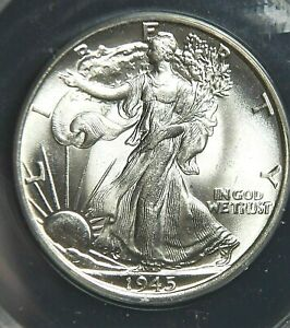 1945 Walking Liberty Silver Half Dollar ANACS MS 64 Blast White KM#142 (902)