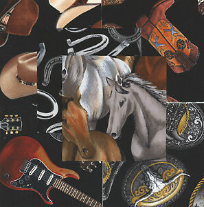 "Horses Honky Tonk 30 4"" fabric squares quilt cotton quilting guitars cowboy hats"