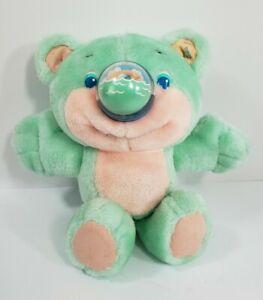 Vintage 1987 Playskool Nosy Bear Mint Green Plush Pink Dolphins Stuffed Animal