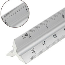 "30cm 12"" Triangular Aluminium Tri Scale Metal Ruler Architect Engineers Rule"
