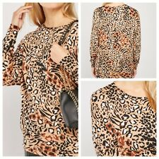 M & Co Ladies Animal Print Top Size 24 Long Sleeve Batwing Stretchy NEW NWOT LJR