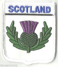 SCOTLAND NATIONAL EMBLEM THISTLE FLAG CREST FLAG WORLD EMBROIDERED PATCH BADGE