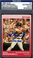 Mike Greenwell W/set Signed Psa/dna Certed 1988 Star Autograph