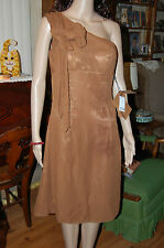 Women's Size 6 Brown Chiffon Knee Length Dress-NWT-Light In The Box-One Shoulder