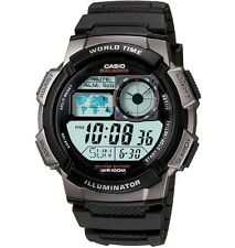 Casio AE1000W-1BV Men's Black Resin Band 5 Alarms Chronograph World Time Watch