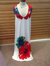 Size 14 16 Bad Apple Stretch poly maxi dress -  white with vibrant pattern