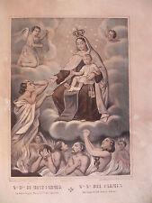 Madonna Carmine Carmelo Virgo Carmen litografia 1850 originale religione