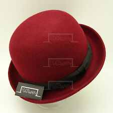 FASHION Wool Felt Women Top Hat Ladies Soft Bowler Derby Party   57cm   Burgundy